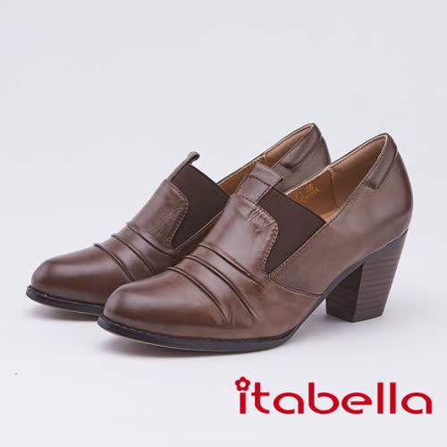 itabella.個性-復古抓縐造型踝靴(9560-71咖啡色)