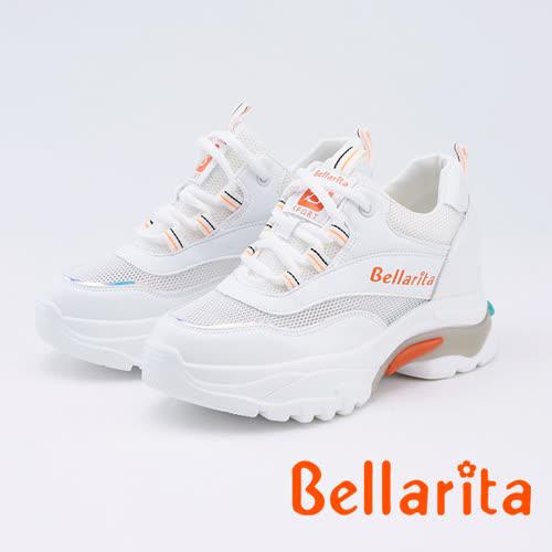 bellarita.網狀拼接厚底老爹鞋(9902-18白色)