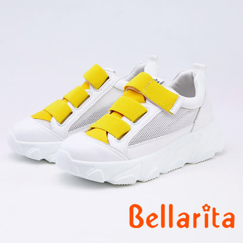 bellarita.造型魔鬼氈拼接厚底休閒鞋(9904-28黃白色)