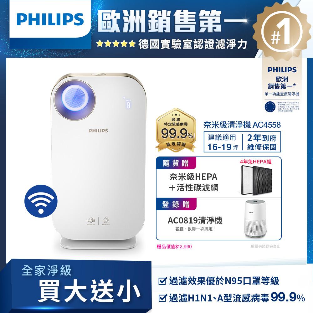【飛利浦 PHILIPS】奈米級抗敏空氣清淨機 AC4558 -贈奈米級勁護HEPA濾網