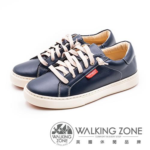 WALKING ZONE 經典六孔牛皮休閒鞋女鞋-藍(另有紅)