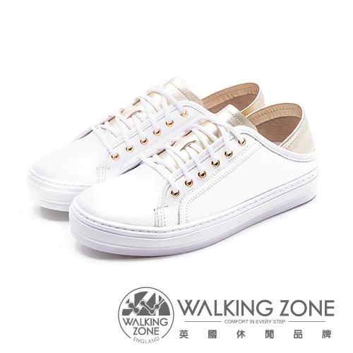 WALKING ZONE 韓流時尚小白鞋 牛皮雙色拼接 女鞋-白金(另有白銀)