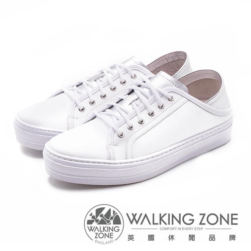 WALKING ZONE 韓流時尚小白鞋 牛皮雙色拼接 女鞋-白銀(另有白金)