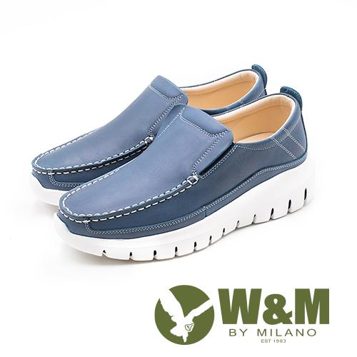 W&M 厚底真皮樂福懶人鞋 男鞋 - 藍(另有鐵灰)