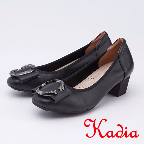kadia.典雅圓釦真皮高跟包鞋(9510-90黑色)