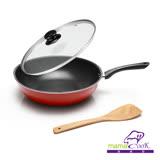 【義大利Mama cook】亮麗紅黑陶瓷不沾炒鍋組(32cm附蓋)