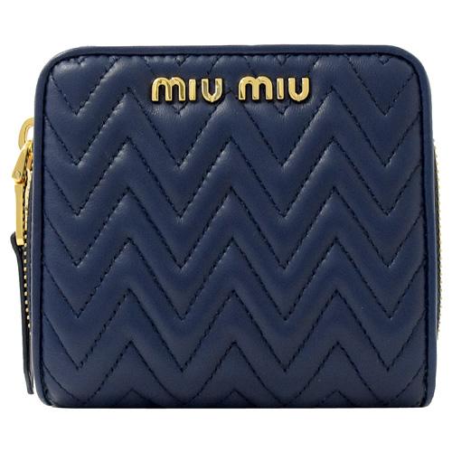 MIU MIU 經典抓皺羊皮兩折扣式零錢短夾.深藍