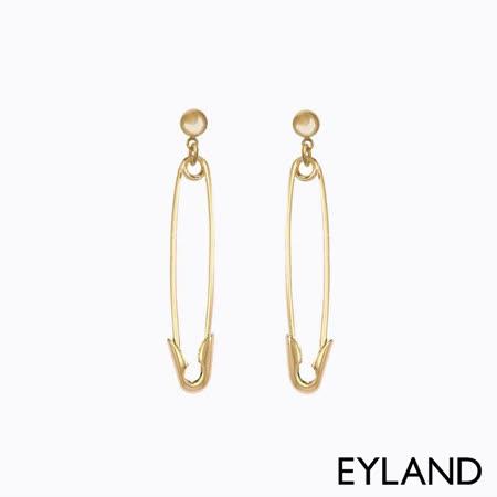Eyland  別針鍍金垂墜耳環-