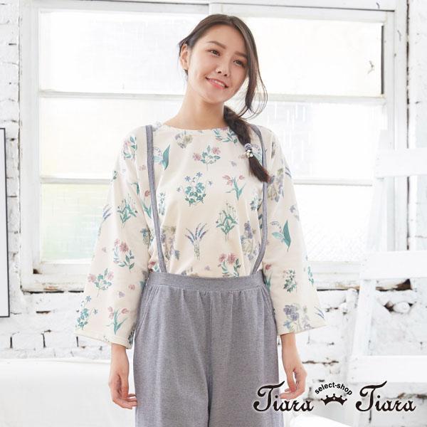 【Tiara Tiara】日系繪花長短版開衩長袖上衣(白/藍/黃)