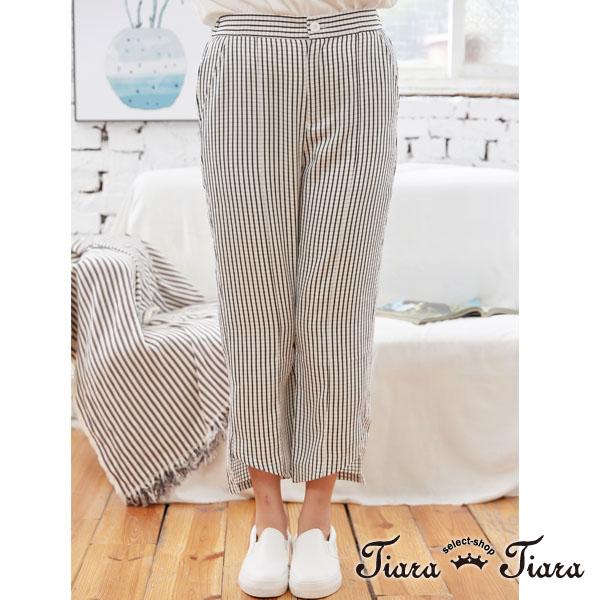 【Tiara Tiara】格紋立體感長短版長褲(黑白格)
