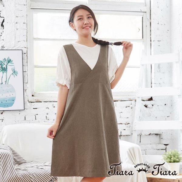 【Tiara Tiara】單色大V領無袖連身裙(綠/黑)
