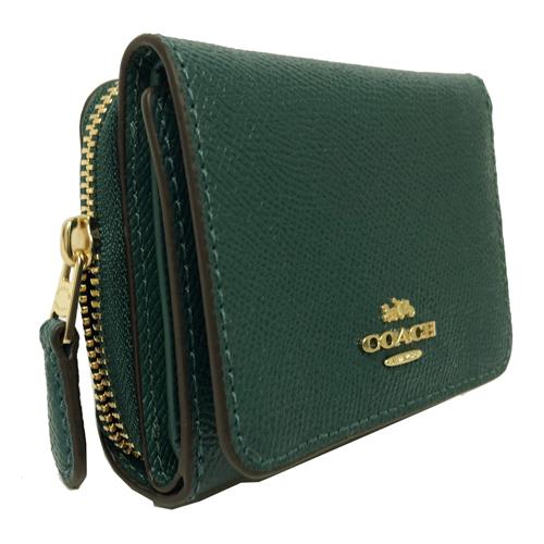 【COACH】經典 LOGO 防刮牛皮多卡片夾層短夾(孔雀綠)