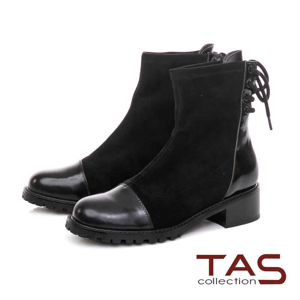 TAS異材質拼接後綁帶造型短靴-帥氣黑