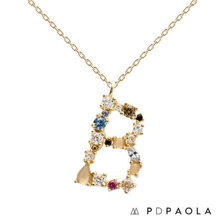 西班牙PD PAOLA  字母彩鑽寶石項鍊