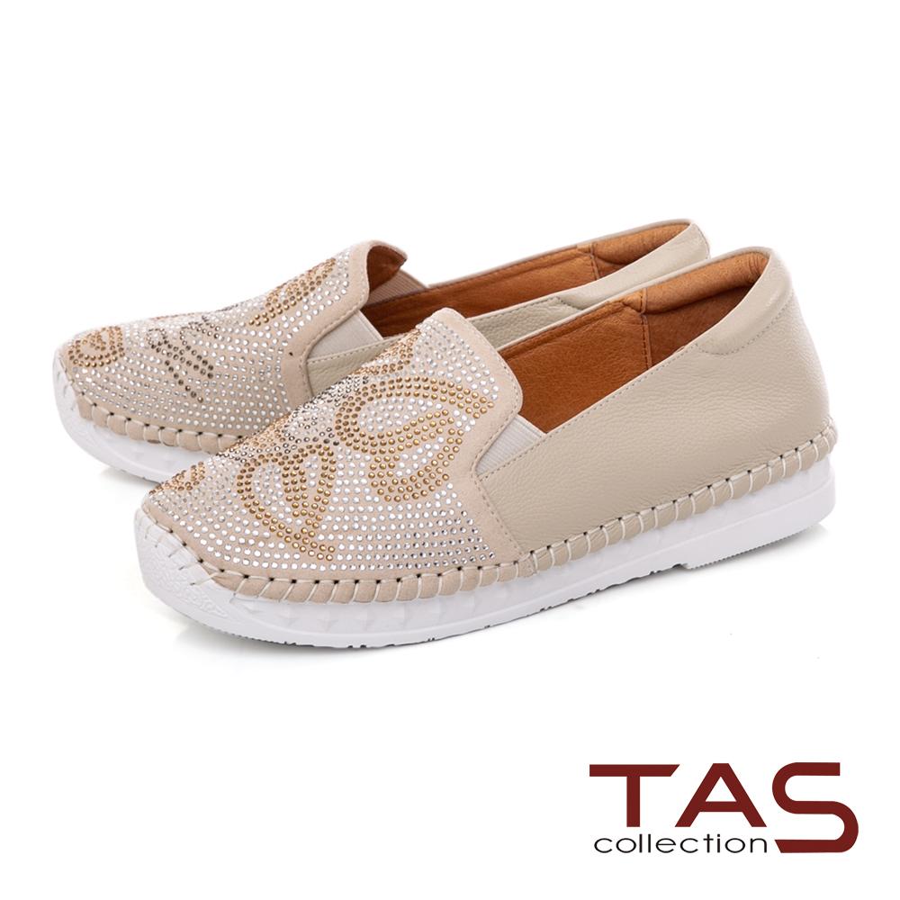 TAS異材質拼接滿版雙色水鑽懶人鞋-百搭米