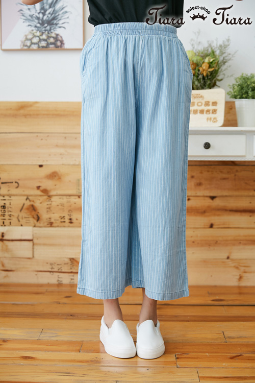 【Tiara Tiara】百貨同步aw 直條紋鬆緊帶長褲(水藍)