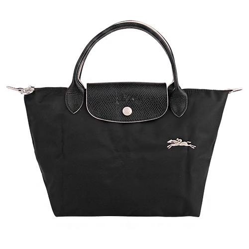 LONGCHAMP- LE PLIAGE 小馬logo短把尼龍手提包(黑)S