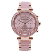 Michael Kors 超時代巨星閃耀晶鑽三眼計時優質腕錶-粉紅+玫瑰金-MK5896