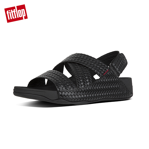 【FitFlop】CHI SANDAL IN WOVEN EMBOSSED LEATHER 可調式皮革涼鞋 黑色