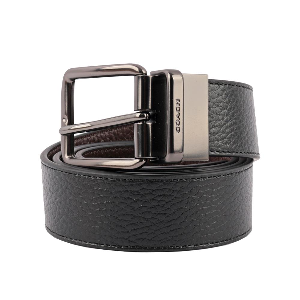 【COACH】金/銀雙頭 雙面用皮帶禮盒組(寬)(黑/咖色) F55434 AQ0
