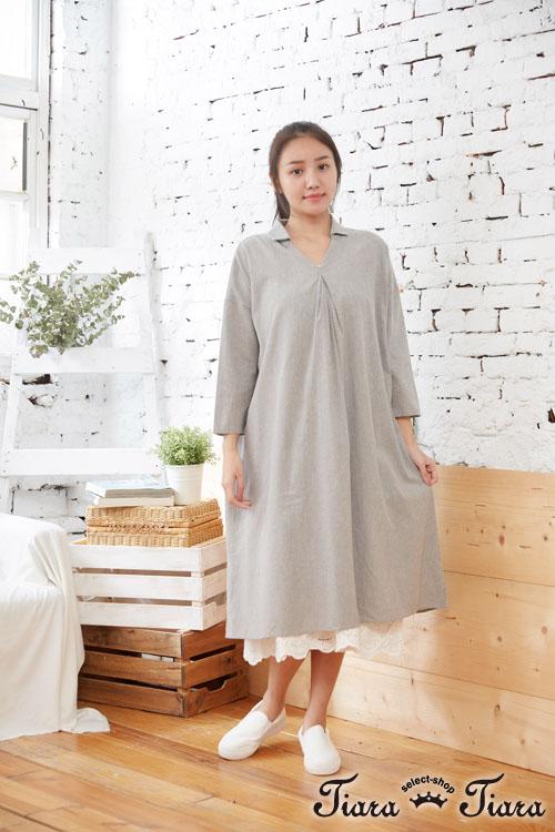 【Tiara Tiara】百貨同步aw V型小翻領素色長袖洋裝(藍/灰)