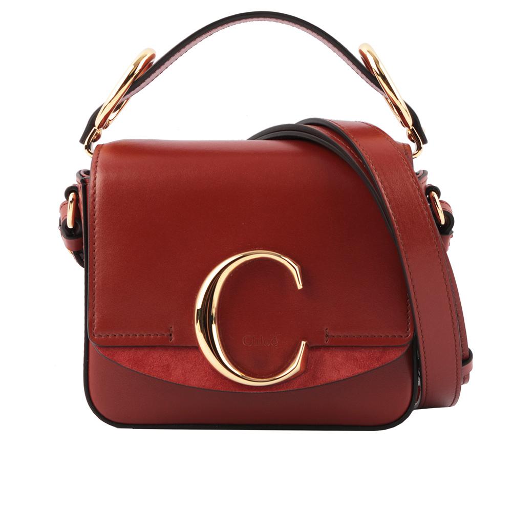 【CHLOE】Mini C BAG牛皮拚麂皮手提/斜背兩用包(棕色) CHC19US193A3727S