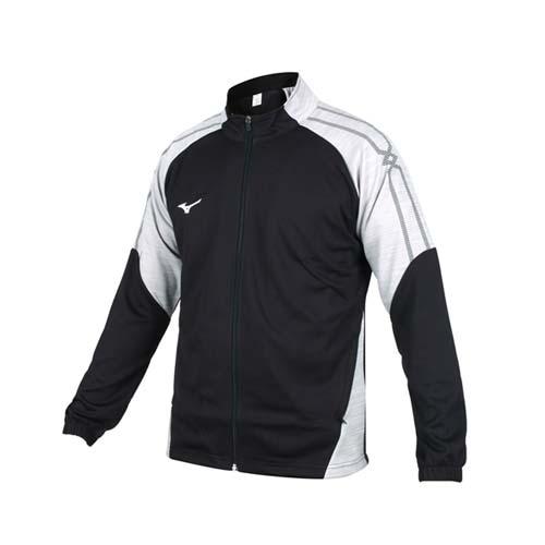 (男) MIZUNO 針織運動外套-立領外套 慢跑 美津濃 防紫外線 黑灰