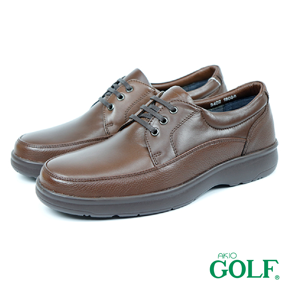 【GOLF】舒適輕量頂級牛皮綁帶氣墊休閒皮鞋 棕色(GF3402-BR)