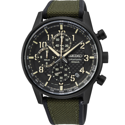 SEIKO精工CS縱橫城市時尚計時手錶 8T67-00M0SD SSB373P1 綠