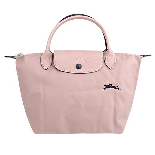 LONGCHAMP- LE PLIAGE 小馬logo短提把手提包(粉膚)S