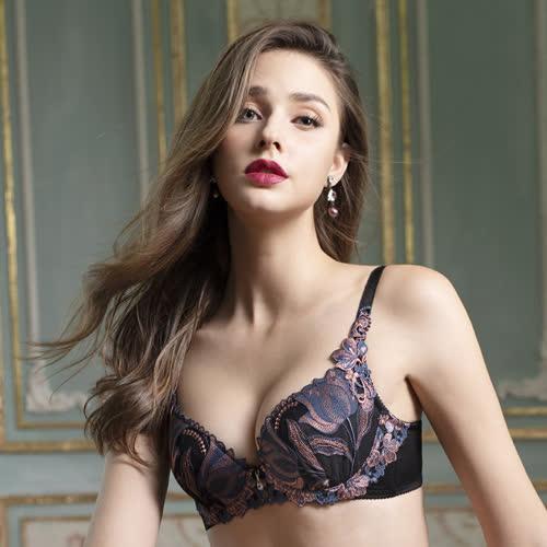 莎露-歡慶D罩杯內衣(黑)奢華蕾絲-深V美胸