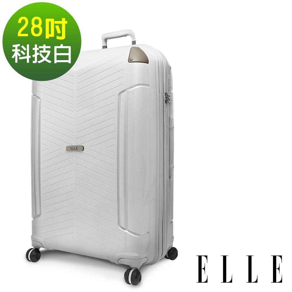 ELLE Time Traveler系列- 28吋特級極輕防刮PP材質行李箱-科技白 EL31232