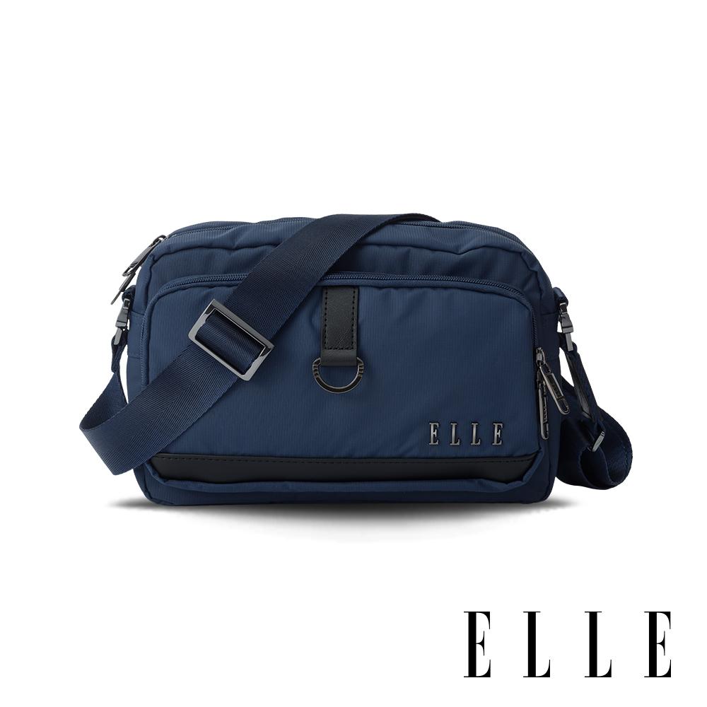 ELLE 都市再生系列 輕量多隔層搭配皮革設計休閒斜/側背包-藍色 EL83513