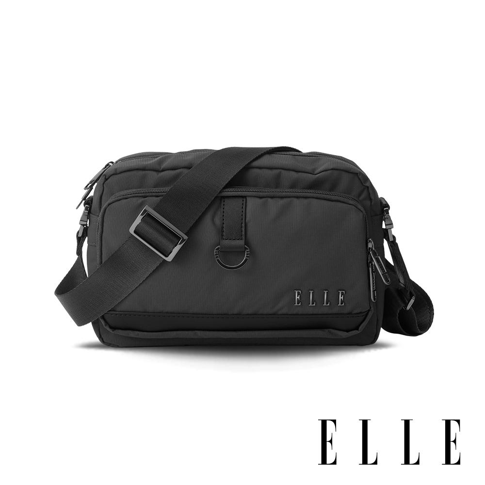 ELLE 都市再生系列 輕量多隔層搭配皮革設計休閒斜/側背包-灰色 EL83513