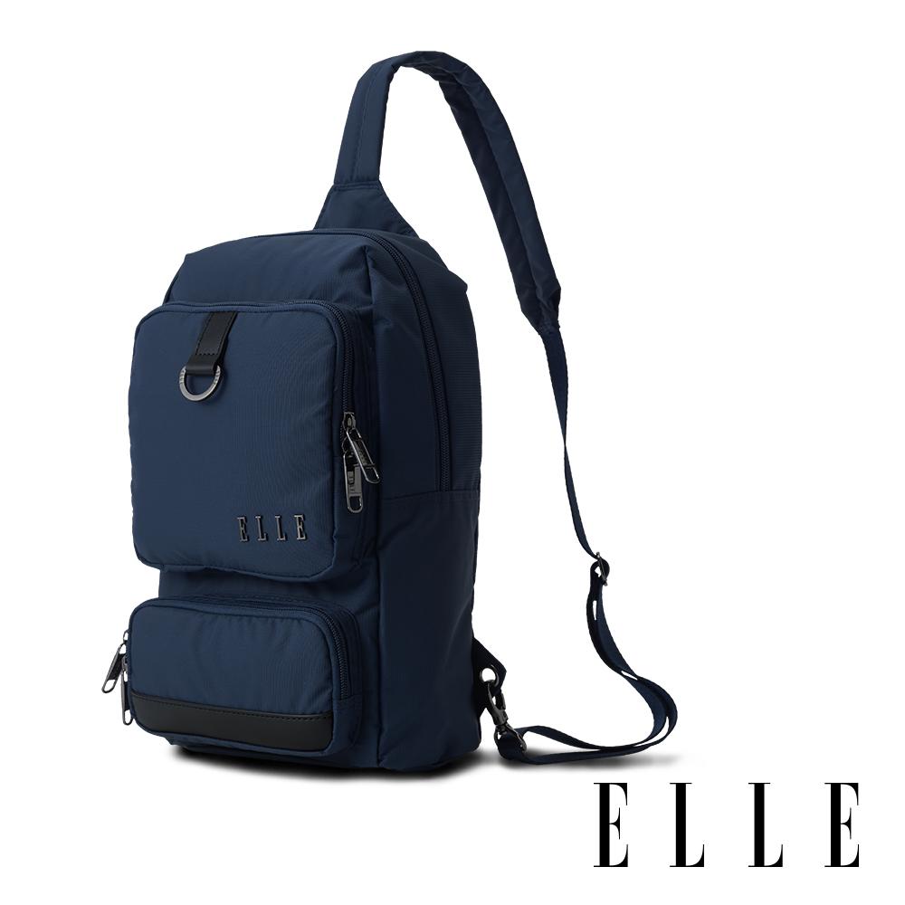 ELLE 都市再生系列 輕量多隔層搭配皮革設計休閒單肩包-藍色 EL83933