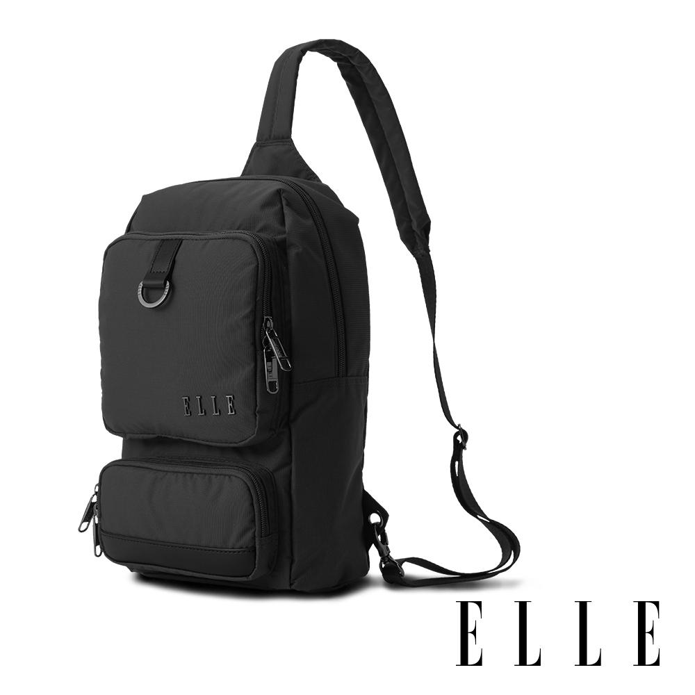 ELLE 都市再生系列 輕量多隔層搭配皮革設計休閒單肩包-灰色 EL83933