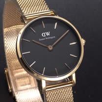 DW Daniel Wellington 精巧版的米蘭風格時尚優質腕錶-黑+玫瑰金/28mm-DW00100217