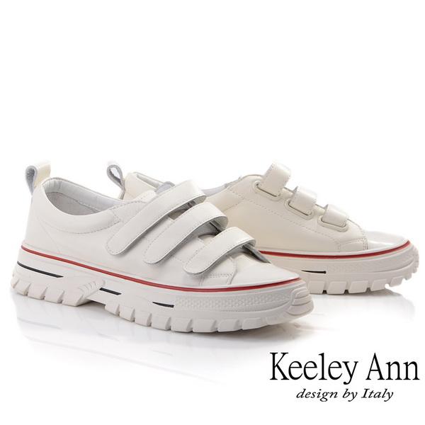 Keeley Ann經典素面 百搭魔鬼氈全真皮休閒鞋(米白色026567132-Ann系列)