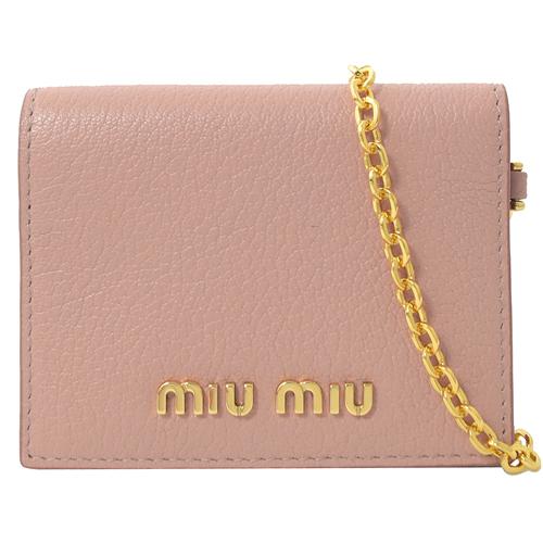 MIU MIU  浮雕LOGO山羊皮扣式卡夾.粉(附鍊條)