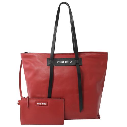 MIU MIU  Grace Lux 小牛皮肩背托特包.紅