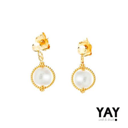 法國YAY  麻花白珍珠耳環