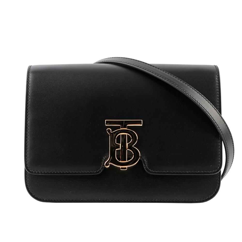 【BURBERRY】小型皮革TB斜背包(黑色) 8010334