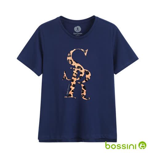 bossini女裝-短袖印花Tee - 04深藍