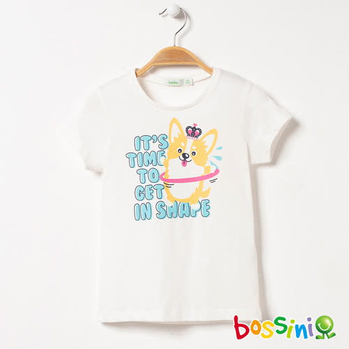 bossini女童-短袖印花Tee - 01白