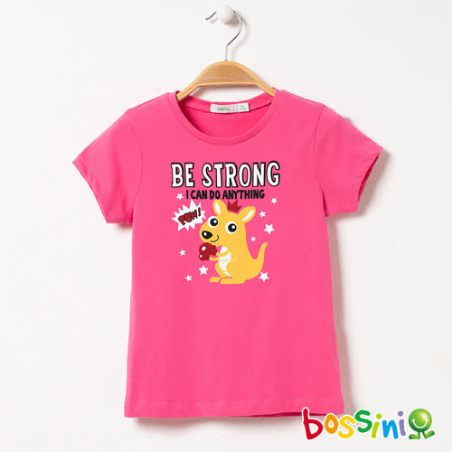 bossini女童-短袖印花Tee - 03粉紅色