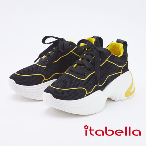 itabella.休閒時尚雙色老爹鞋(9563-95黃黑色)