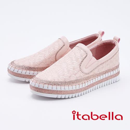 itabella.基本簡約小花水鑽休閒鞋(9568-68粉色)