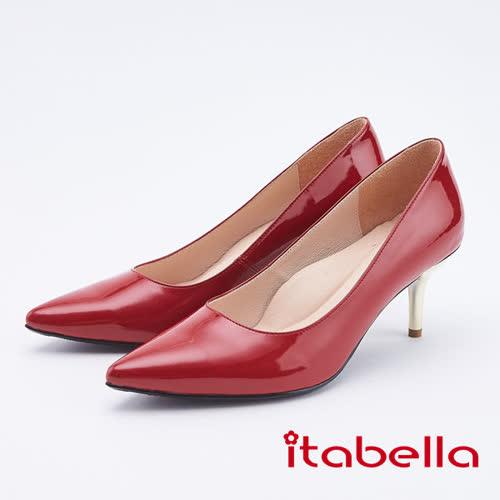 itabella.氣質高雅-真皮尖頭高跟鞋(9585-64紅色)