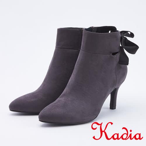 kadia.造型後綁帶高跟短靴(9709-85灰色)