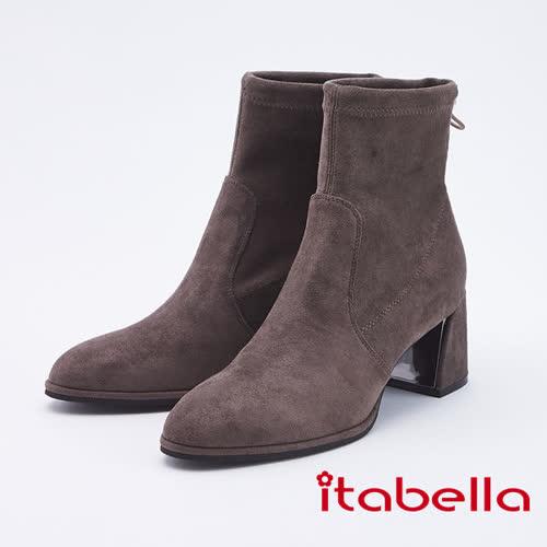 itabella.甜美暖冬 柔軟絨後帶中筒靴(9752-75咖啡色)